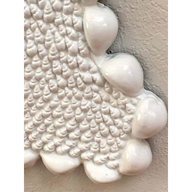 Glass Mid Century Serge Roche Style Shell Encrusted Mirror For Sale - Image 7 of 8