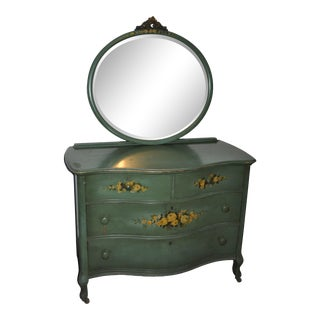Antique Hand Painted Dresser With Mirror For Sale