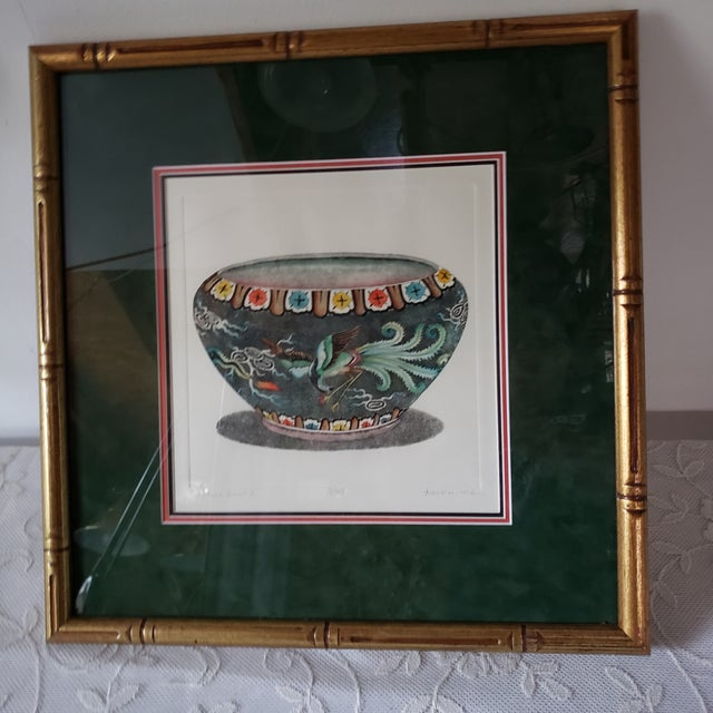 """Chinese Vintage """"Chinese Bowl Ii"""" Dan Mitra Frame Signed & Numbered Print For Sale - Image 3 of 8"""