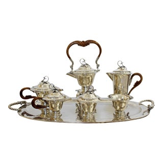 Mid Century Modernist Sterling Silver Tea Coffee Set Mexico Jensen Style - Set of 7 For Sale