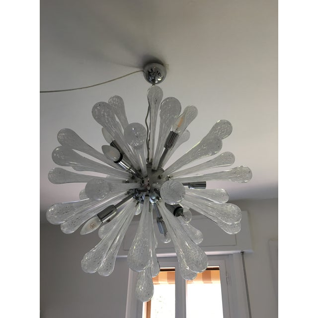 Early 21st Century White & Transparent Murano Glass Sputnik Chandelier For Sale - Image 5 of 7