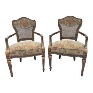Heritage Cane Back Floral Tapestry Arm Chairs - A Pair For Sale