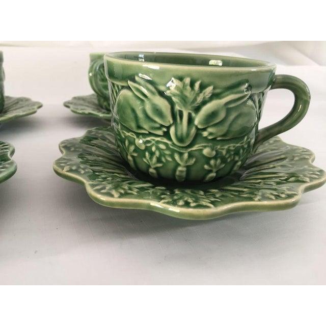 1990s Bordallo Pinheiro Green Majolica Teacups & Saucers - Set of 4 For Sale - Image 5 of 8