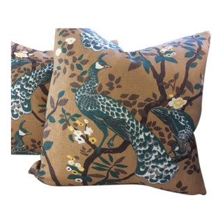 Dwell Studios Pillows in Turquoise & Brown Vintage Plume - a Pair For Sale
