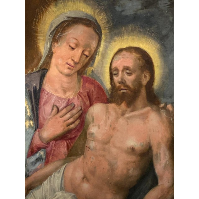 Religious Oil on Board of Mary Magdalene and Jesus For Sale - Image 3 of 6