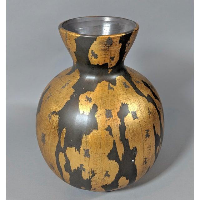 Regency Gold Leaf and Charcoal Gray Vase - Large For Sale - Image 9 of 9
