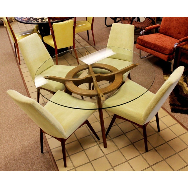 """For your consideration is an original, architectural """"Compass"""" dinette or dining table and four chairs, made of walnut..."""