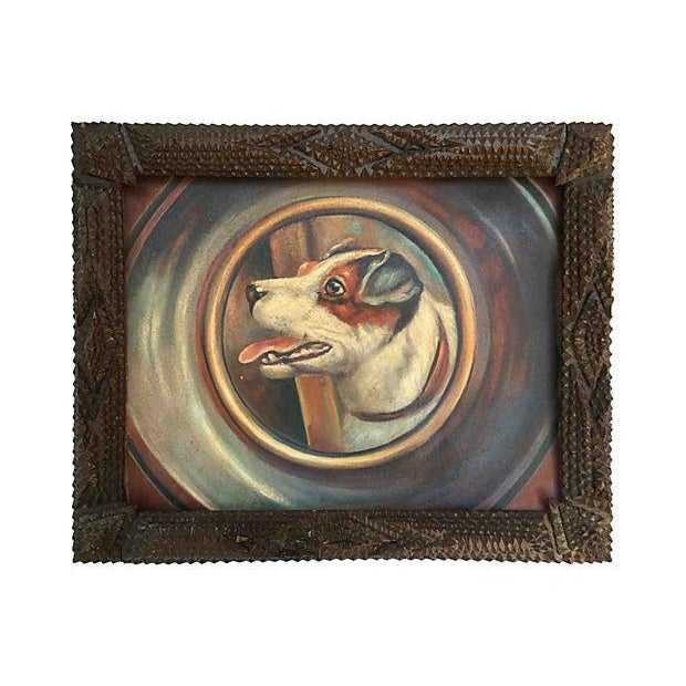 Jack Russell Portrait in Tramp Art Frame - Image 7 of 7