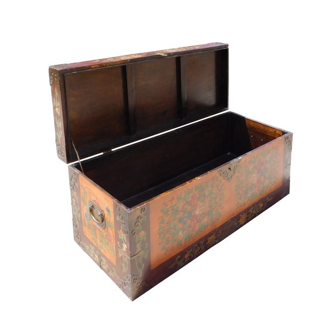 Floral Orange Brown Wood Trunk Bench Ottoman - Image 5 of 6