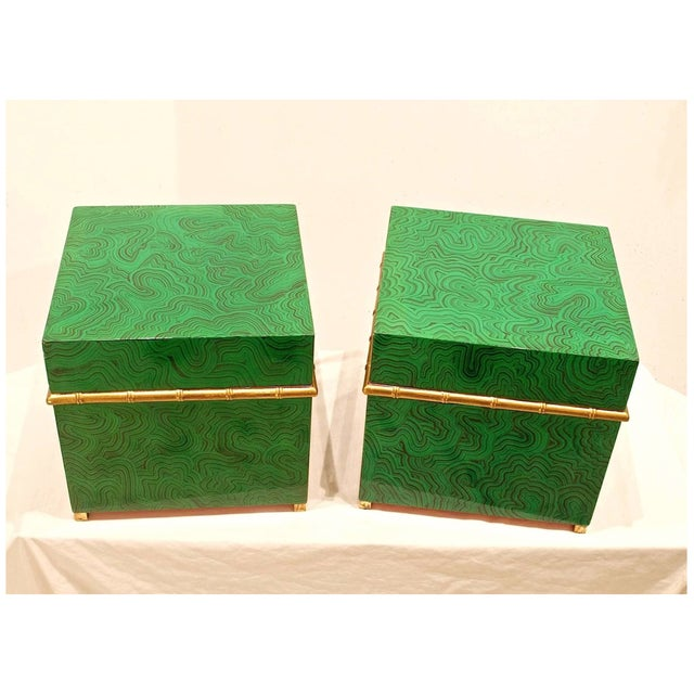 Pair of faux malachite boxes with style to spare. These hard to come by storage boxes can house your finery with panache'....