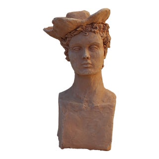 """Four Cornered Hat"" Terracotta Sculpture by Sarah Myers For Sale"