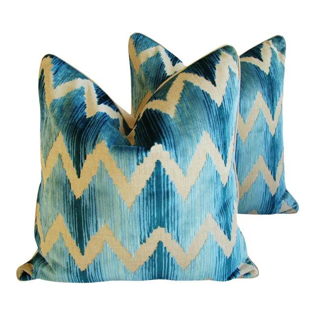 "Boho Chic Chevron Flamestitch Cut Aqua Velvet Feather/Down Pillows 24"" Square - a Pair For Sale"