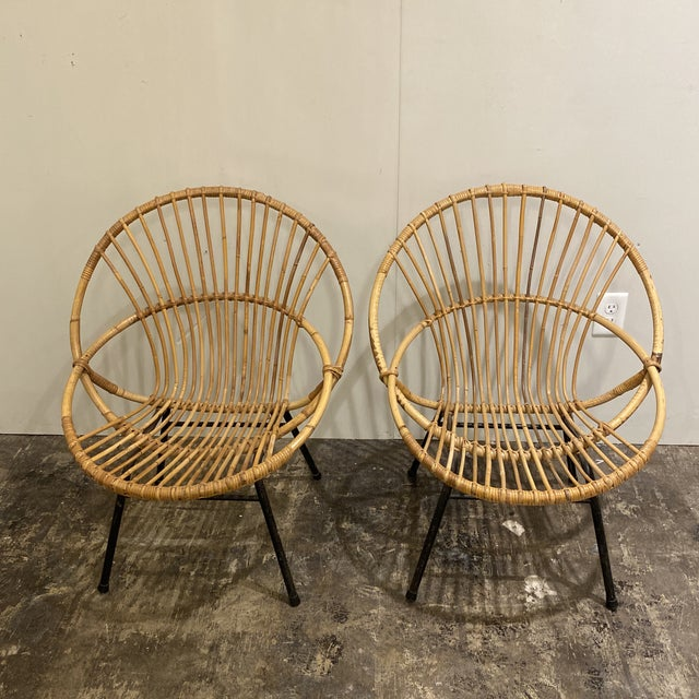 Boho Chic Mid Century Chairs - a Pair For Sale - Image 3 of 9
