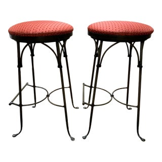 1980s Iron Swivel Bar Stools - a Pair For Sale