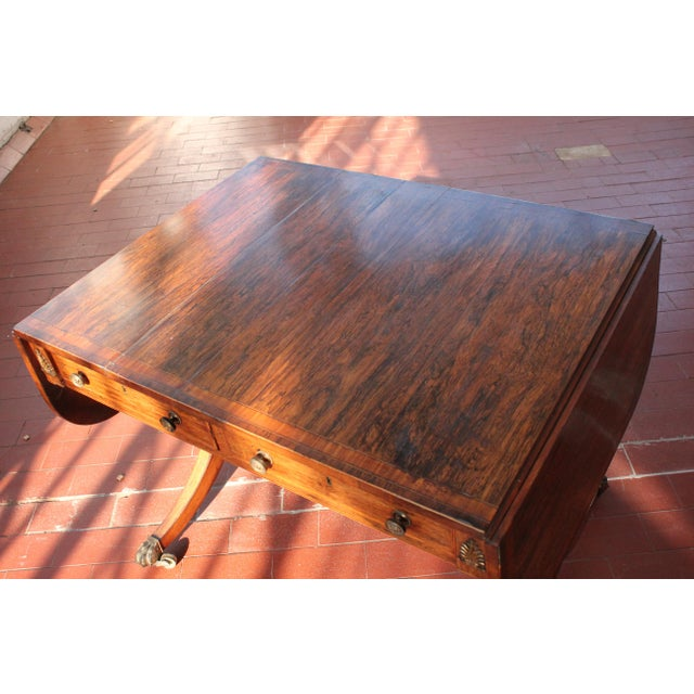 Antique Victorian Rosewood Writer's Desk For Sale - Image 4 of 13