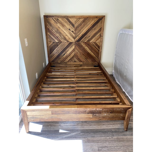 2010s West Elm Full Alexa Reclaimed Wood Bedframe For Sale - Image 5 of 5