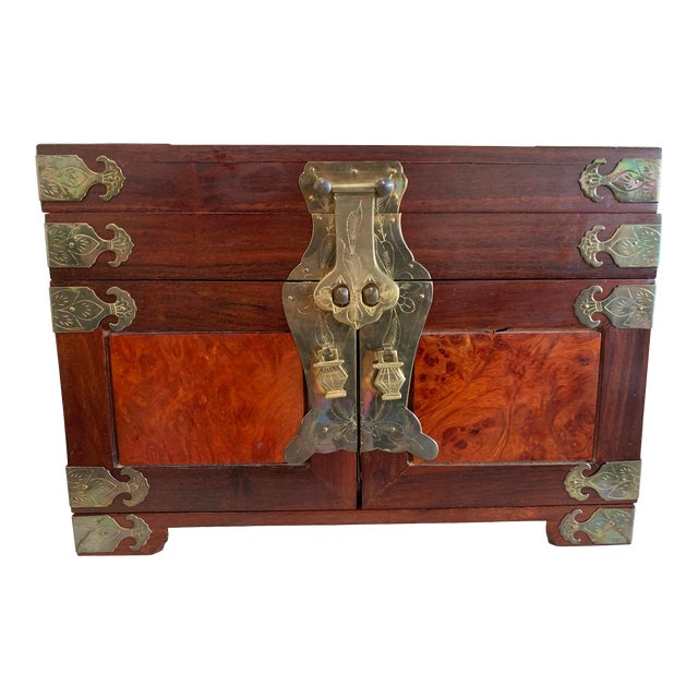Stunning Vintage Asian Silk Lined Jewelry Box With Flame Mahogany Inlay and Etched Brass Trim and Lantern Pulls For Sale