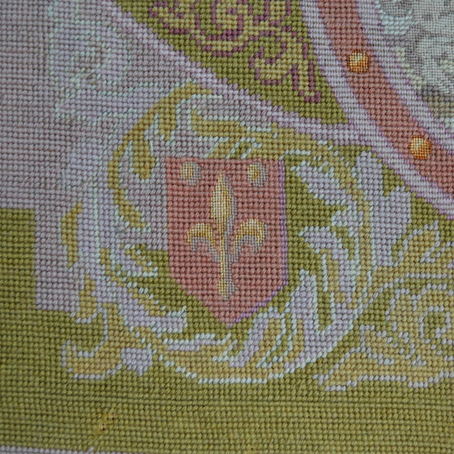 Late 19th Century Lathe 19th Century Wool Needlepoint Panel With Lady and Cheetah For Sale - Image 5 of 13