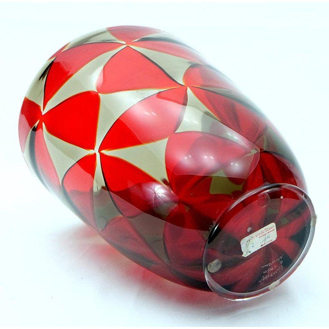 Barovier & Toso Barovier & Toso Red Mosaic Triangle Murano Glass Vase For Sale - Image 4 of 7