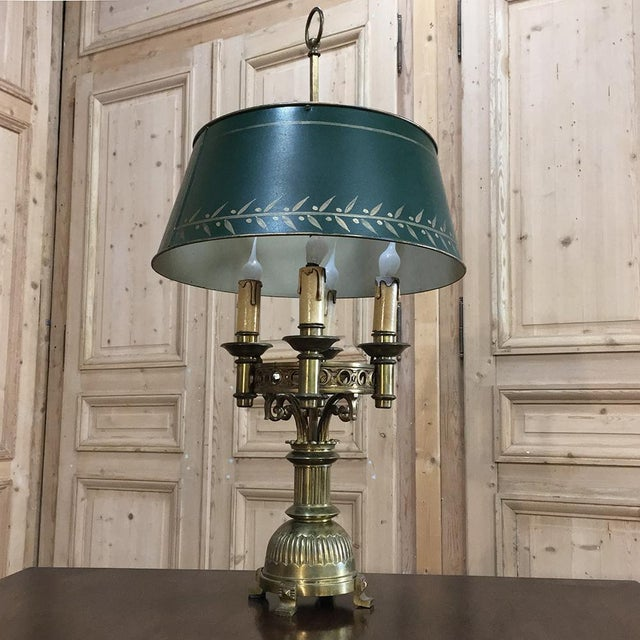 Antique French Art Deco Period Bronze Bouillote Lamp with Shade is a master work of craftsmanship speaking to a bygone era...