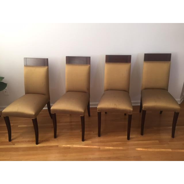 Dialogica Sergio Savarese Dialogica High Back Wood and Fabric Dining Chairs - Set of 6 For Sale - Image 4 of 13
