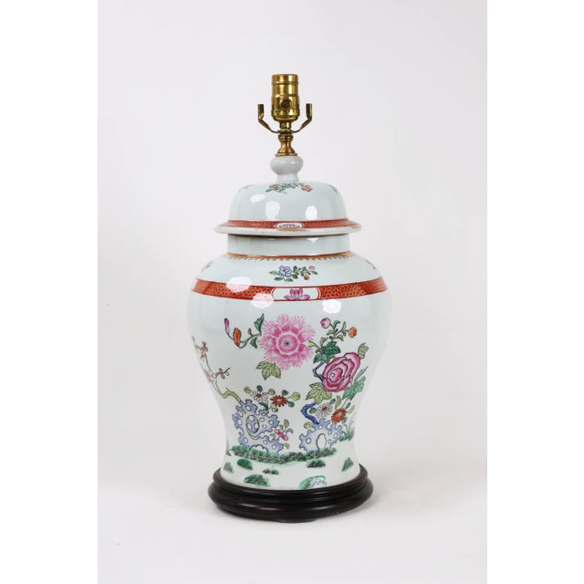 Vintage Famille Rose Temple Jar Depicting Indigo Rocks and Flower Blooms For Sale In New York - Image 6 of 6
