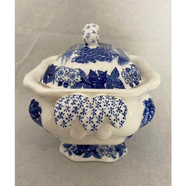 Vintage Blue and White Gravy Boat For Sale - Image 9 of 13