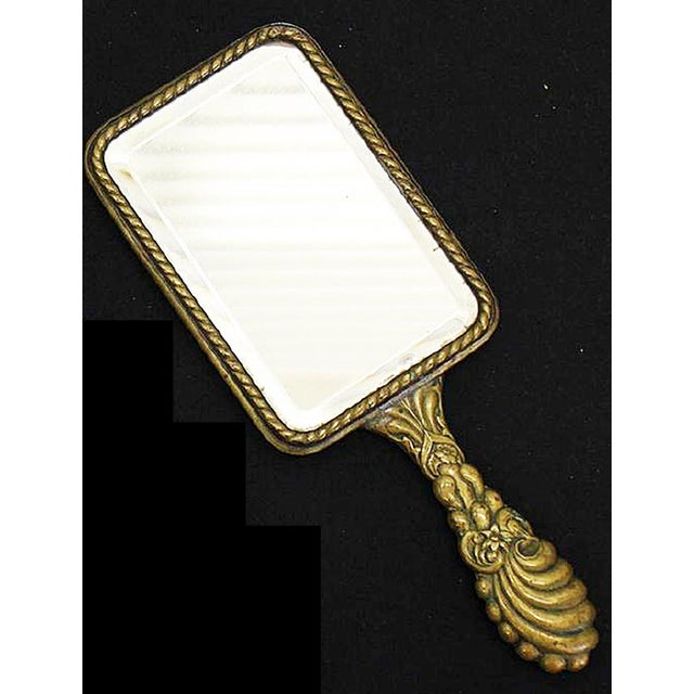 French Brass Vanity Hand Mirror - Image 2 of 4