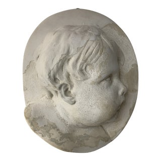 1930s Cherub Face Bust Cast Relief Wall Plaster Cameo For Sale