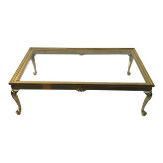 Cabriolet Leg Brass Coffee Table For Sale