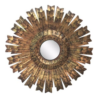 French Gilded Tole Convex Sunburst Mirror