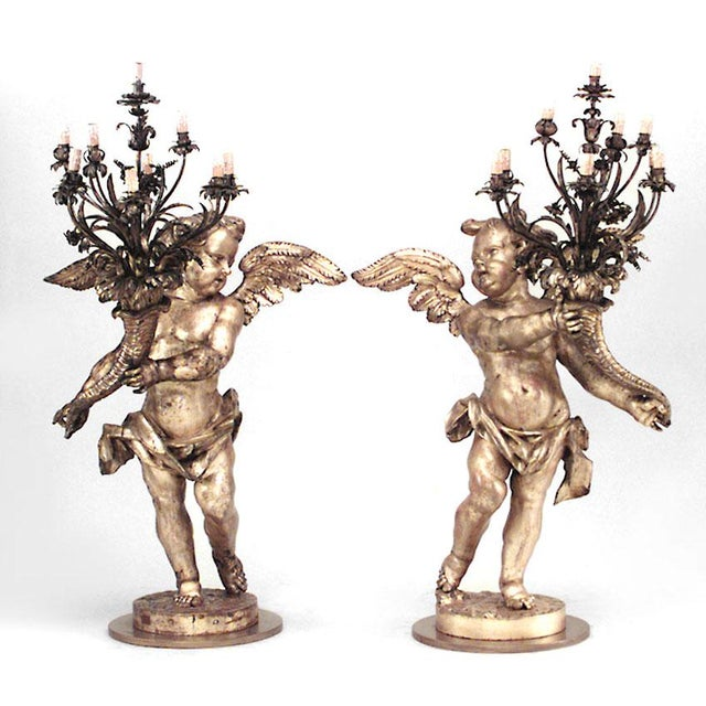 Brown Pair of French Louis XV Style, 19th Century Gilt Cupid Torchiere For Sale - Image 8 of 8