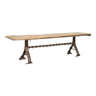 18th Century French Primitive Pine Bench With Iron Base For Sale
