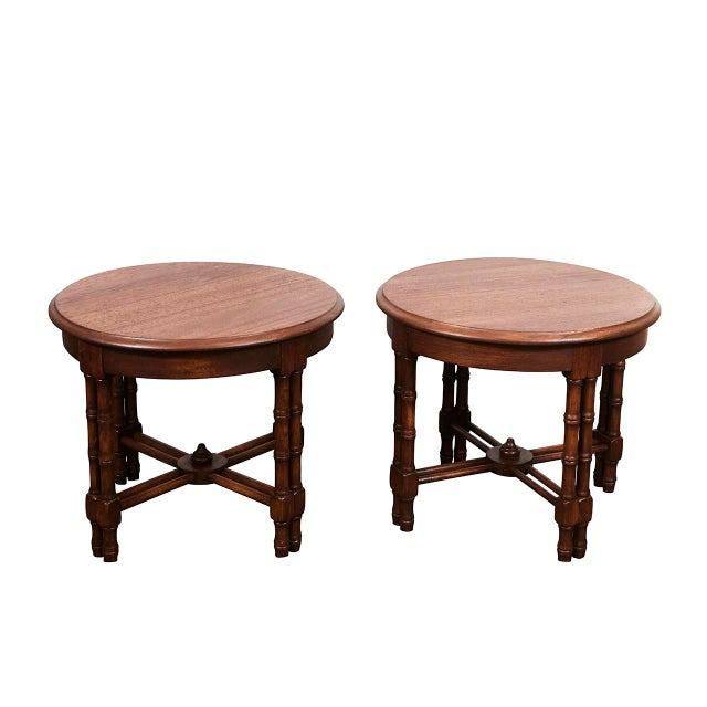 Pair Mid-Century Faux Bamboo Side Tables For Sale In Los Angeles - Image 6 of 6