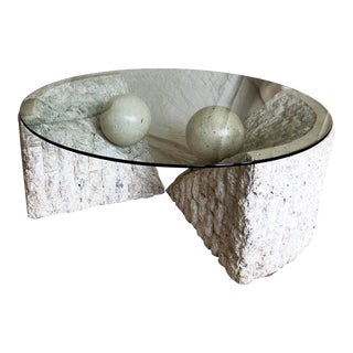 Post Modern Tessellated Stone Magnussen Ponte Coffee and Side Table Set - 2 Pieces For Sale