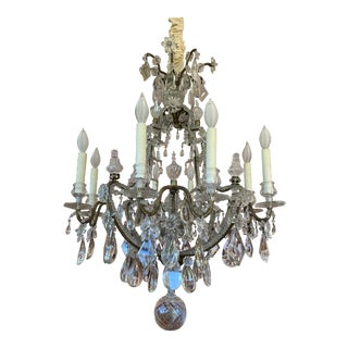 Antique Italian Crystal Chandelier With Beaded Arms For Sale