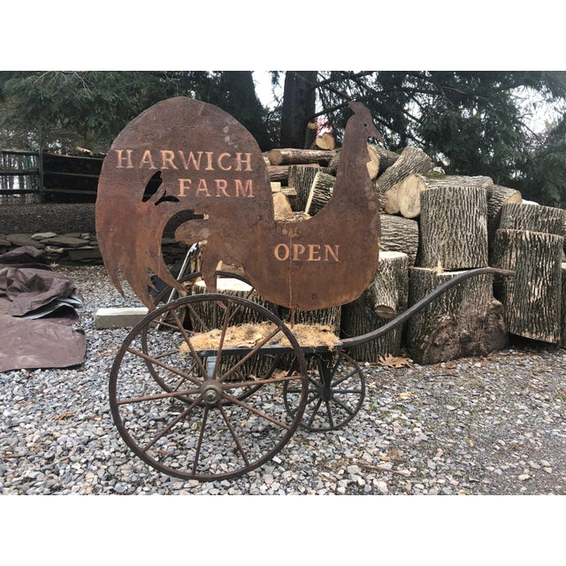 1980s Country Tin Harwich Rooster Sign For Sale - Image 5 of 12