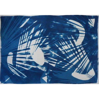 Tropical Palm Leaf Shades, Cyanotype on Watercolor Paper,Print, Monotype, Photogram 50x70 CM For Sale