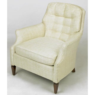 Button Tufted Creamy Linen Lounge Chair and Ottoman Preview