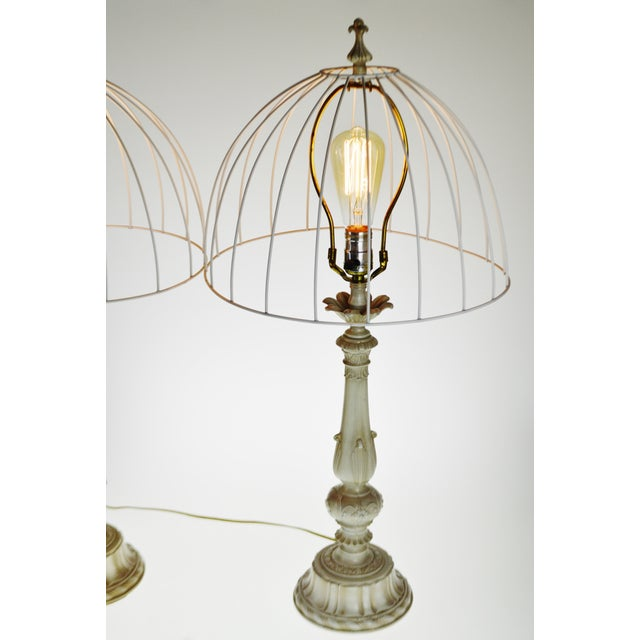 Mid 20th Century Vintage Metal Candlestick Table Lamps With Metal Cage lamp shades - a Pair For Sale - Image 5 of 12