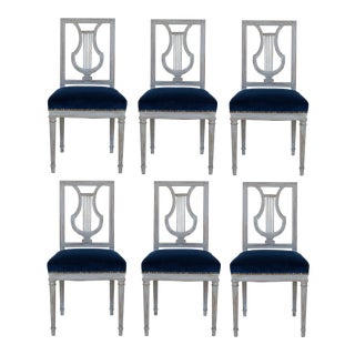 French Louis XVI Lyre Back Dining Chairs in Blue Indigo Velvet For Sale