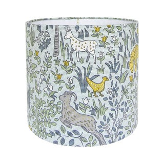 Robert Allen Folkland Aquatint Blue Woodland Nursery Drum Lamp Shade