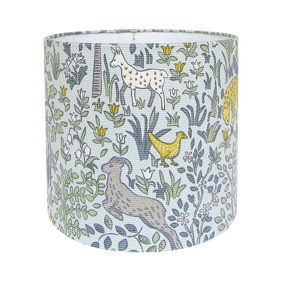 Robert Allen Folkland Aquatint Blue Woodland Nursery Drum Lamp Shade For Sale