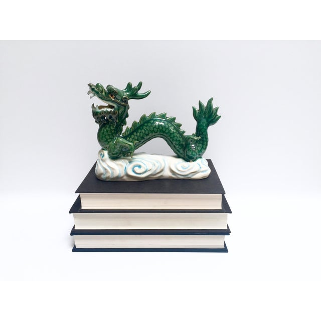 Vintage Hand Painted Ceramic Green Dragon Figurine - Image 8 of 8