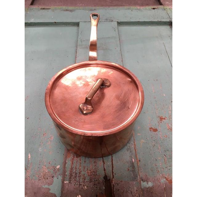 Gold Bazar Francais Copper #14 Saucepan with Lid For Sale - Image 8 of 8