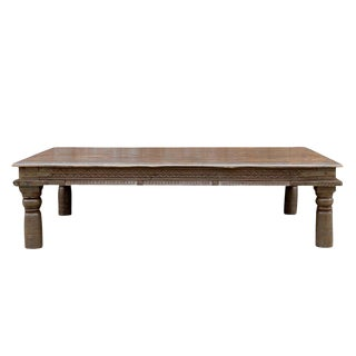 Tribal Carved Takhat Large Coffee Table For Sale