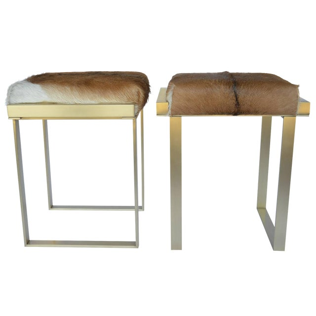 1980s Vintage Brushed Brass Stools- a Pair For Sale
