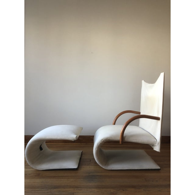 "Sculptural chair and ottoman set in soft canvas by Ligne Roset, dubbed the ""Zen chair"". The upholstery on this chair is in..."
