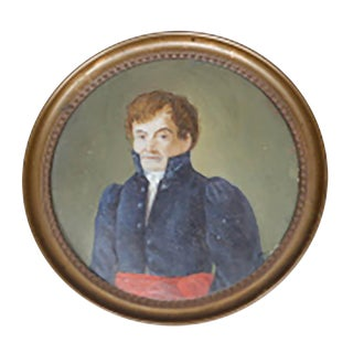 Pair-19th Century Small Oil Portraits on Paper, Circa 1800s For Sale
