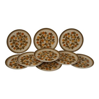 Vintage Mid Century Mikasa Playmates Plus Patio Pattern Dinner Plates- Set of 9 For Sale